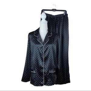 Pink K Silky Black Star Print Pajamas Set. Size L.